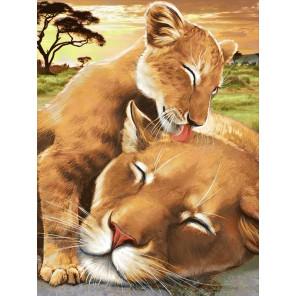 Львенок с мамой Алмазная вышивка мозаика АЖ-1740