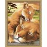 Пример оформления в рамку Львенок с мамой Алмазная вышивка мозаика АЖ-1740