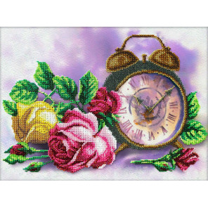 Пример оформления в рамку Розовый час Набор для частичной вышивки бисером Паутинка Б-1287