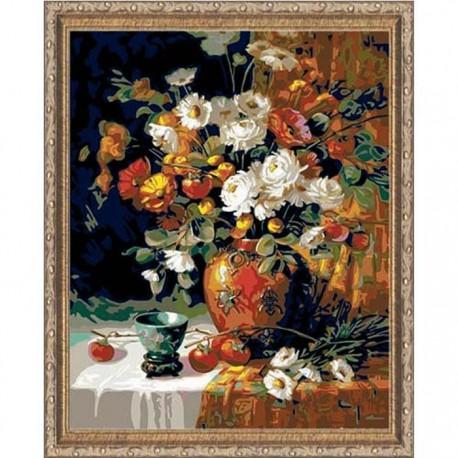 Хурма и хризантемы Раскраска картина по номерам акриловыми красками Plaid
