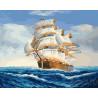 Корабль на волнах Раскраска картина по номерам на холсте ZX 22286