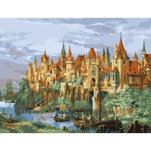Средневековый замок 50х65см Раскраска по номерам акриловыми красками на холсте Menglei