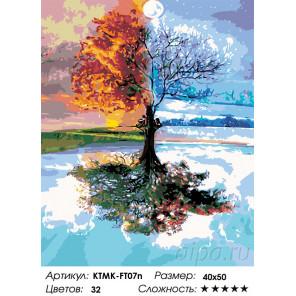Сложность и количество цветов Дерево и времена года Раскраска картина по номерам на холсте KTMK-FT07n