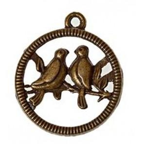 Птички на жердочке 20х24мм Подвеска металлическая для скрапбукинга, кардмейкинга Scrapberry's