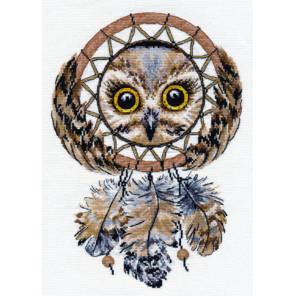 Пример оформления в рамку Ловец снов Набор для вышивания Овен 1078