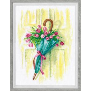 Пример оформления в рамку Цветочное послание Набор для вышивания Овен 1041