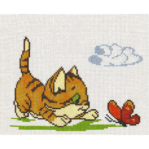 Котенок с бабочкой Набор для вышивания Палитра