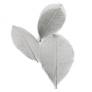 10шт Серебряный металлик Листочки 8см скелетированные из каучукового дерева Украшение для скрапбукин