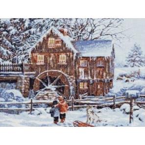 Мельница в снегу Набор для вышивания Палитра