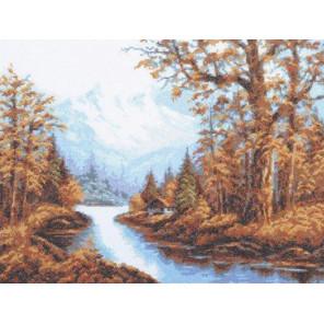 Вышитая работа в рамке Пейзаж с горами Набор для вышивания Палитра 08.011