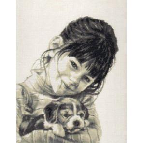 Девочка со щенком Набор для вышивания Палитра