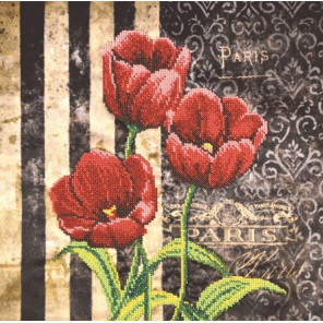 Красные тюльпаны Набор для вышивки бисером на габардине Овен 007-РТ