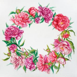 Цветение пионов (может использоваться для создания подушки) Набор для вышивания Марья Искусница