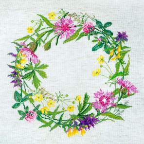 Полевые цветы (может использоваться для создания подушки) Набор для вышивания Марья Искусница