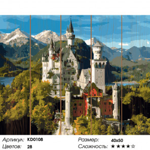 Количество цветов и сложность Замок Нойшванштайн Картина по номерам на дереве Molly KD0108
