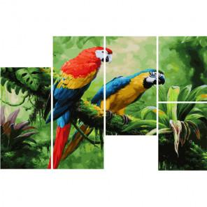 Попугаи на ветке Модульная картина по номерам на холсте с подрамником WX1099