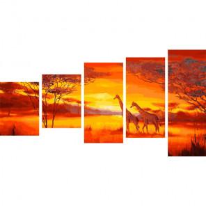 Жирафы на закате Модульная картина по номерам на холсте с подрамником WX1049