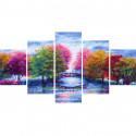 Разноцветные деревья Модульная картина по номерам на холсте с подрамником WX1104