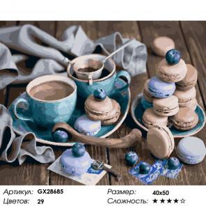 Количество цветов и сложность Натюрморт со сладостями Раскраска картина по номерам на холсте GX28685