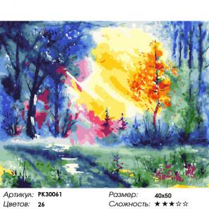 Количество цветов и сложность Солнце в листве Раскраска картина по номерам на холсте PK30061