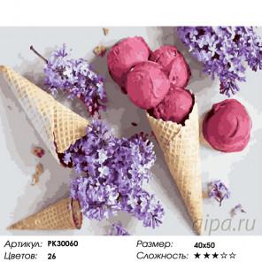 Количество цветов и сложность Сирень и мороженое Раскраска картина по номерам на холсте PK30060