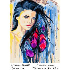 Количество цветов и сложность Индейские мотивы Раскраска картина по номерам на холсте PK30078