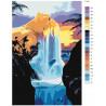 Макет Водопад на чудесном острове Раскраска картина по номерам на холсте FT10