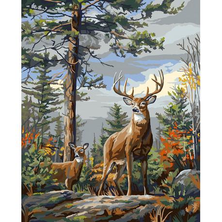 Гордые олени Standing Proud Раскраска картина по номерам Plaid