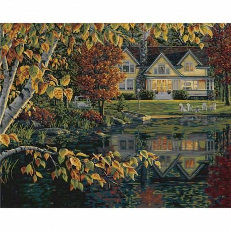 Осенние отражения Autumn Reflections Раскраска картина по номерам Plaid