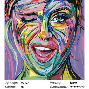 Сложность и количество цветов Синие глаза Раскраска картина по номерам на холсте RO127
