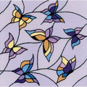 Витраж бабочки Набор для вышивания подушки, пано Риолис 1625
