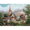 Монастырь Шоненверт по мотивам гравюр XIX века вышивка 1701