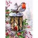 Снегирь на фонаре Алмазная вышивка мозаика Алмазное Хобби
