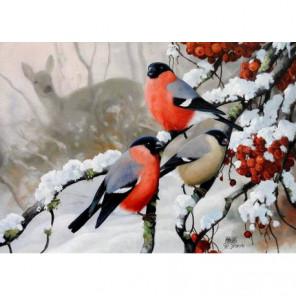 Три снегиря и лань Алмазная вышивка мозаика Алмазное Хобби