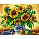 Желтые подсолнухи в синей вазе Алмазная вышивка мозаика Алмазное Хобби
