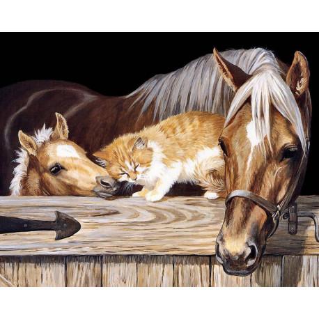 Лошадь, жеребенок и рыжий кот Алмазная вышивка мозаика Алмазное Хобби