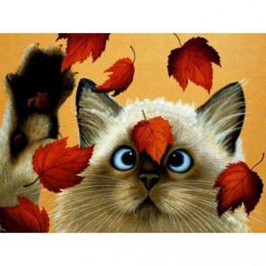 Кот и осенние листья Алмазная вышивка мозаика Алмазное Хобби