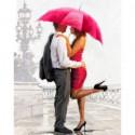 Пара под красным зонтом Алмазная вышивка мозаика Алмазное Хобби