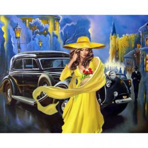 Дама в желтом Алмазная вышивка мозаика Алмазное Хобби