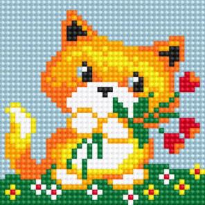 Лисичка с цветами Алмазная вышивка мозаика Алмазное Хобби