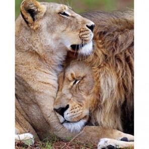 Лев и львица: на страже сна Алмазная вышивка мозаика Алмазное Хобби