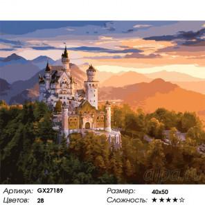 Замок в лучах заката Раскраска картина по номерам на холсте GX27189