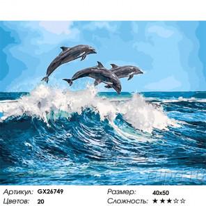Сложность и количество цветов Дельфины Раскраска картина по номерам на холсте GX26749