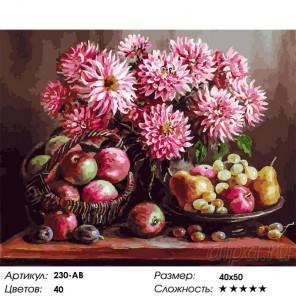 Сложность и количество цветов Розовые георгины Раскраска картина по номерам на холсте Белоснежка 230-AB