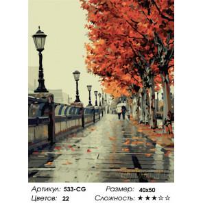 Осенний дождь Раскраска картина по номерам на холсте Белоснежка 533-CG