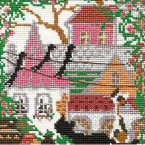В рамке Город и кошки. Лето Набор для вышивания Риолис 612