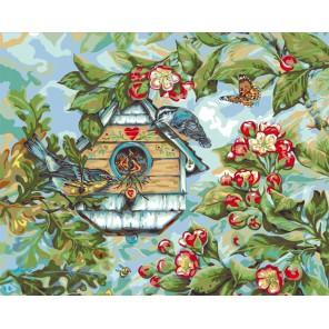 Певчие птицы весной ( художник Донна Рейс) Раскраска картина по номерам Plaid