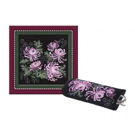 С хризантемами Набор для вышивания панно, очечника Риолис 966