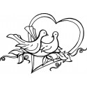 Свадебные голубки Деревянный штамп для оттисков Aladine