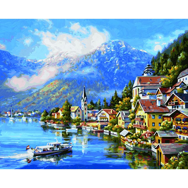 9130802 На озере Халльштатт Раскраска картина по номерам ...